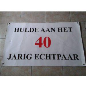 Spandoek voor 40 jarig huwelijksfeest  € 5,00