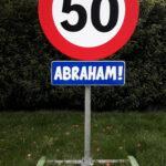 Verkeersbord abraham metaal  € 15,00